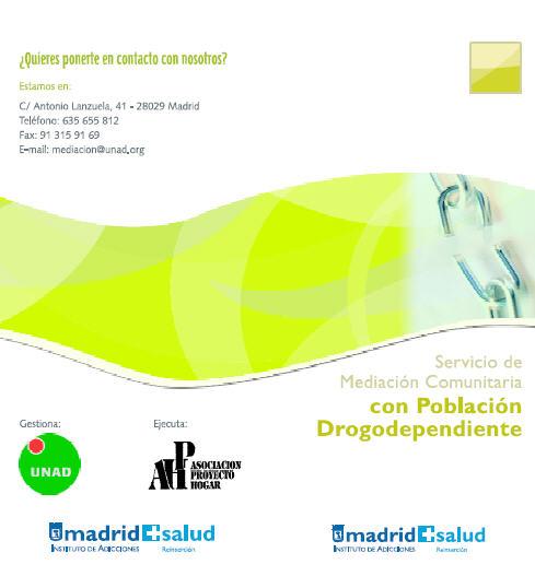 Publicación sobre el Servicio de Mediación Comunitaria con Población Drogodependiente